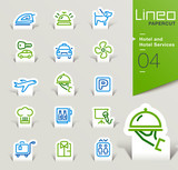 Fototapety Lineo Papercut - Hotel and Hotel Services outline icons