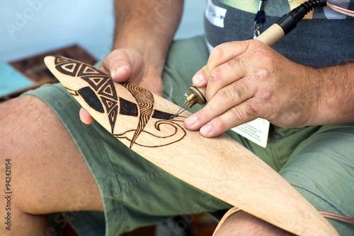 Process of making australian aboriginal boomerang. Poster