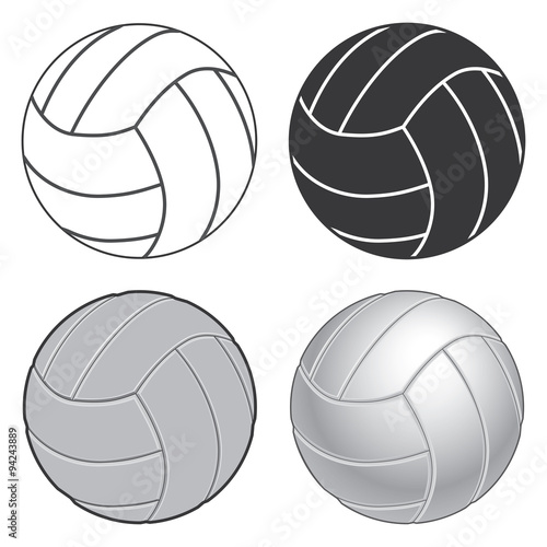 Volleyball Four Ways is an illustration of four versions of a volleyball ranging from simple version to a more complex or realistic version.