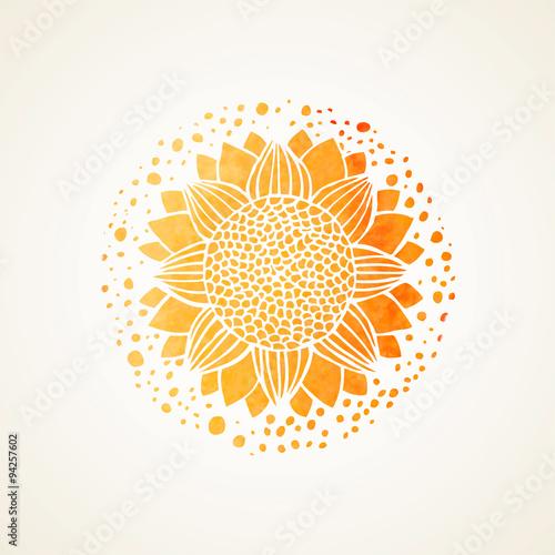 Watercolor sunny yellow lace pattern. Vector element. Mandala