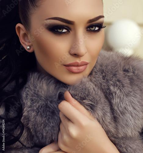 84c1f8d81fd gorgeous woman with long dark hair wears luxurious fur coat