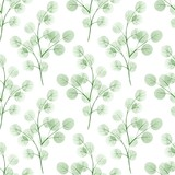 Branches with round leaves. Watercolor background. Seamless pattern 3