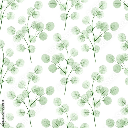 Branches with round leaves. Watercolor background. Seamless pattern 3 - 94286044