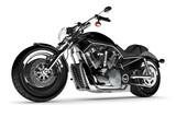 Czarny motocykl na białym tle.