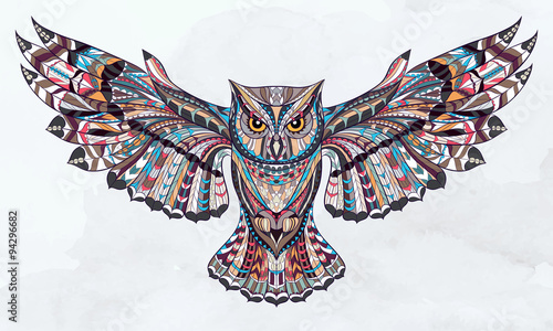 Patterned owl on the grunge watercolor background. African / indian / totem / tattoo design. It may be used for design of a t-shirt, bag, postcard, a poster and so on. - 94296682