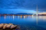 Fototapety Geneva panorama with famous fountain, Switzerland, HDR