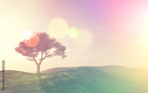 3D tree landscape with retro effect
