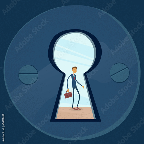 Keyhole Businessman Concept View Through Door Hole & Keyhole Businessman Concept View Through Door Hole | Buy Photos | AP ...