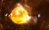 Fototapety Giant Solar Flares. Sun producing super-storms and massive radiation bursts