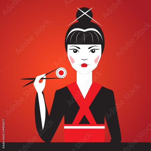 Fototapeta Close-up vector portrait of Oriantal femme fatale in a black kimono eating sushi.