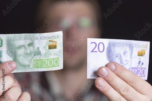 Poster Swedish 200 and 20 Krona Notes