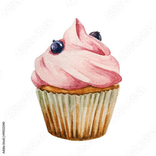 Watercolor cupcake, isolated  - 94332040