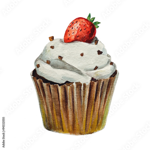 Watercolor cupcake, isolated  - 94332050