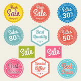 Set of retro promotion discount sale and guarantee tag banner label badge sticker ribbon