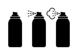 Black spray can icons on white background