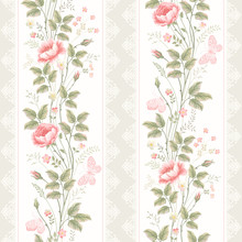 seamless pattern with floral borders lace and butterflies