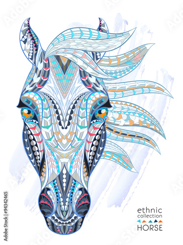 Patterned head of the horse on the grunge background. African / indian / totem / tattoo design. It may be used for design of a t-shirt, bag, postcard, a poster and so on.   - 94342465