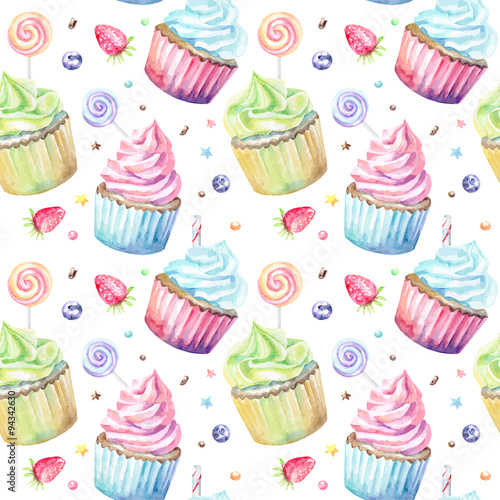 Fototapeta Sweet delicious watercolor pattern with cupcakes. Hand-drawn background. Vector illustration.