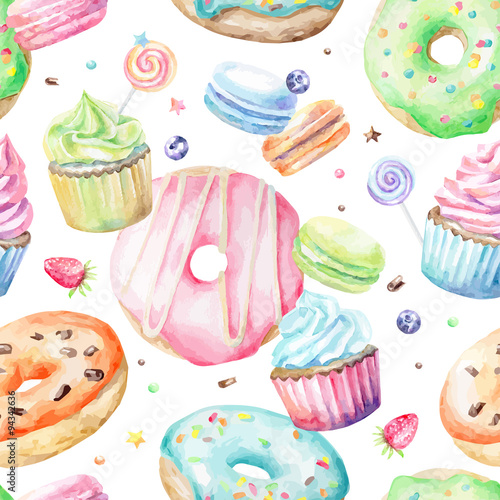 Cotton fabric Sweet delicious watercolor pattern with macarons, cupcakes, donuts. Hand-drawn background. Vector illustration.