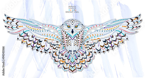 Patterned snowy owl on the grunge background. Indian / totem / tattoo design. It may be used for design of a t-shirt, bag, postcard, a poster and so on.   - 94343066