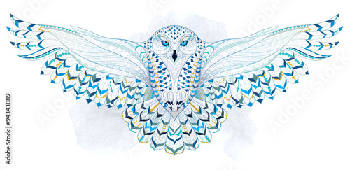 Patterned snowy owl on the grunge background. Indian / totem / tattoo design. It may be used for design of a t-shirt, bag, postcard, a poster and so on.   - 94343089