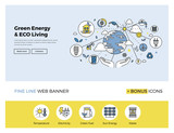 zelené energie banner rovná čára