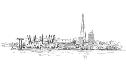 London sketch illustration with Shard of glass and river Thames