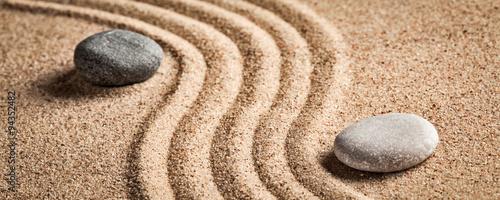 Spoed canvasdoek 2cm dik Stenen in het Zand Japanese Zen stone garden