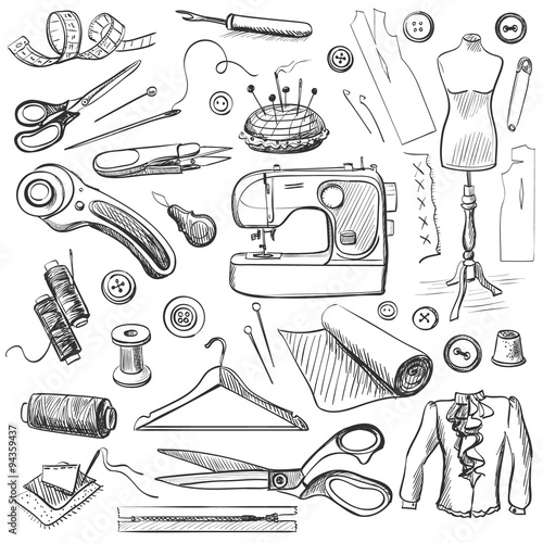 Hand drawn sewing icons set - 94359437