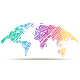 Fototapety drawn map of the world. colors of rainbow