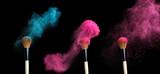 powderbrush on black background with blue powder splash  - 94384839