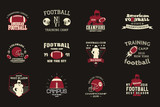 College rugby and american football team, campus, college badges, logos labels insignias in retro style Graphic vintage design for t-shirt, web. Color print isolated on a dark background. Vector