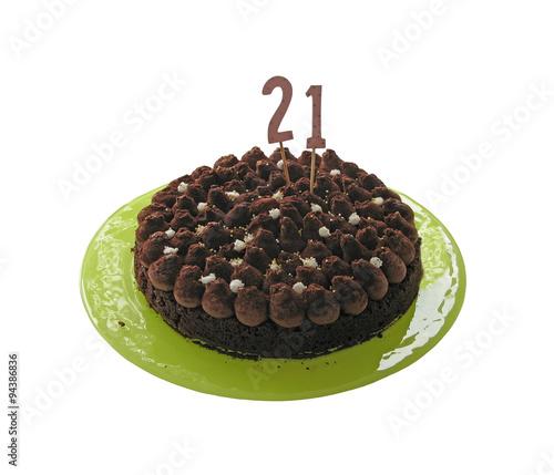 Photo: Birthday cake 21 twentyone with chocolate and wood sign of the ...