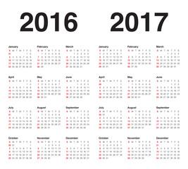 Vector: Calendar 2016 2017