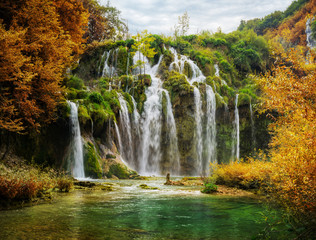 Autumnal view of beautiful waterfalls in Plitvice Lakes National Park © Irochka