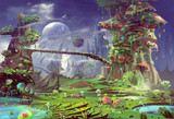 Fototapety Illustration: The Panorama of the Prison Planet - The Gentle Version. Realistic Style. Scene / Wallpaper Design.