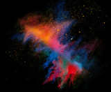 Launched colorful powder on black background - Fine Art prints