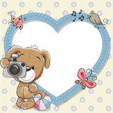 Fototapety Puppy with heart frame