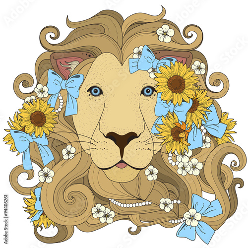 Fototapeta lovely lion coloring page