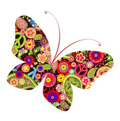 Print with butterfly with hippie symbolic