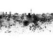 Berlin skyline in black watercolor