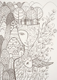 Fototapety Vector contour illustration of the goddess of Mother Nature