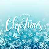 Fototapety Merry christmas  handwritten text on background with snowflakes. Vector illustration