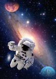 Astronaut spaceman outer space people galaxy planet solar system universe. Elements of this image furnished by NASA.