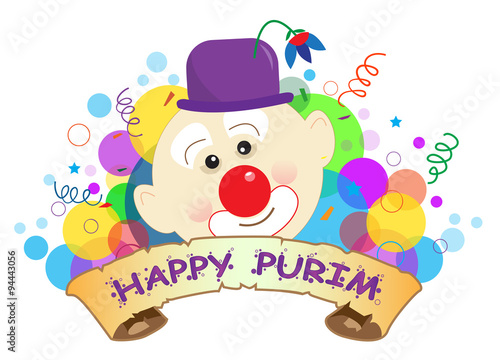 Purim Clown Banner - Colorful banner with a clown and happy Purim text in the center. Eps10