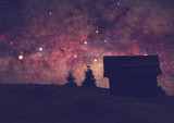 Silhouettes of a countryside with Milky way. Long exposure photo taken from a dark mountain top. - Fine Art prints