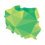 Fototapety green polygonal vector map of Poland