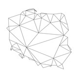 black polygonal outline of vector map of Poland