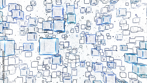 Fototapeta Abstract Floating Cubes Sketch Illustration - Blue