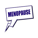 menopause blueblack stamp text on white Speech bubbles poster